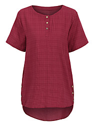 Недорогие -женский плюс размер хлопка свободная рубашка - сплошной цветной шею