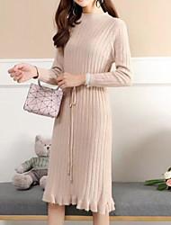 Недорогие -женский выход тонкий свитер / оболочка платье midi шея экипажа