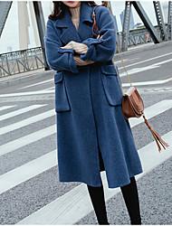 Недорогие -Жен. Офис Длинная Пальто, Однотонный Воротник Питер Пен Длинный рукав Полиэстер Синий M / L / XL