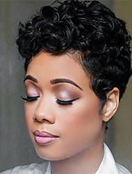 Недорогие -Не подвергавшиеся окрашиванию человеческие волосы Remy Лента спереди Парик Бразильские волосы Волнистые Глубокий курчавый Парик Стрижка боб Стрижка каскад 130% Плотность волос / Природные волосы
