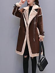 Недорогие -длинное искусственное кожаное пальто женщин - сплошной цвет