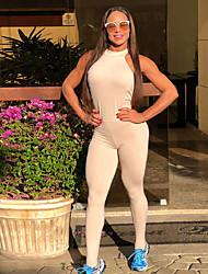 billige -Dame Sexy Yoga Suit - Hvid, Sort Sport Helfarve Bodysuit Yoga Sportstøj Power flex, 4-vejs strækning Elastisk Tynd