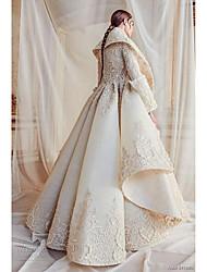 billige -A-linje Højhalset Gulvlang Blondelukning / Tyl Made-To-Measure Brudekjoler med Mønster / tryk ved LAN TING BRIDE®