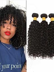 Недорогие -3 Связки Евро-Азиатские волосы Kinky Curly 8A Натуральные волосы Необработанные натуральные волосы Подарки Головные уборы Человека ткет Волосы 8-28 дюймовый Естественный цвет Ткет человеческих волос