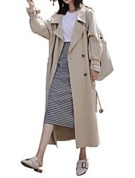 お買い得  -女性のロングコート - ソリッドカラーのシャツの襟
