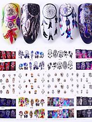 billige -1 pcs Vandoverførings klistermærke Fjer / Drømmefanger Negle kunst Manicure Pedicure Nyt Design / Bedste kvalitet / Høj kvalitet, formaldehydfri Vintage / Sød Jul / Fest / aften / Daglig