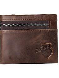 Недорогие -Муж. Мешки Бумажники Молнии / Рельефный Сплошной цвет Коричневый / Темно-коричневый