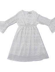 זול -שמלה שרוול ארוך אחיד בנות ילדים