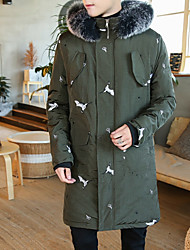 billige -mænds lange parka - floral hooded