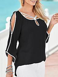 abordables -Tee-shirt pour femme en vrac - bloc de couleur col rond