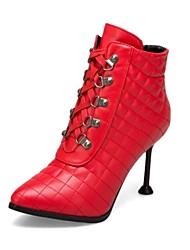 billige -Dame Fashion Boots PU Efterår vinter Minimalisme Støvler Stilethæle Spidstå Ankelstøvler Sort / Beige / Lys Rød / Bryllup / Fest / aften