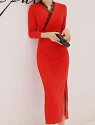 Недорогие -Жен. Винтаж Оболочка Платье - Однотонный Средней длины