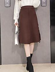 olcso -a nők kiment midi ceruza szoknyák - tömör színű