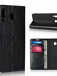 billige -Etui Til Samsung Galaxy A9 Star / A8 2018 Pung / Stødsikker / Med stativ Fuldt etui Ensfarvet Hårdt ægte læder for A6 (2018) / A6+ (2018) / A3 (2017)