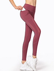4e3d7143c GOSOU≡R Women s Patchwork Yoga Pants Black Red Brown Sports Solid Color  Mesh Elastane Tights Zumba Running Fitness Activewear Quick Dry Soft Butt  Lift ...