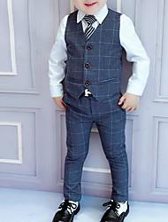 Недорогие -Дети Мальчики Уличный стиль В клетку Длинный рукав Обычный Полиэстер Набор одежды Синий