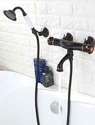 Недорогие -Смеситель для ванны / Смеситель для ванной - Античный Начищенная бронза Ванна и душ Медный клапан Bath Shower Mixer Taps / Две ручки три отверстия