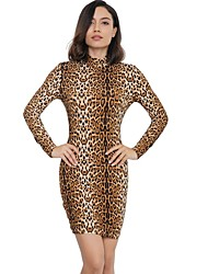 Недорогие -Жен. Тонкие Брюки - Леопард Завышенная Верблюжий / Для вечеринок / Хомут / Для клуба / Сексуальные платья