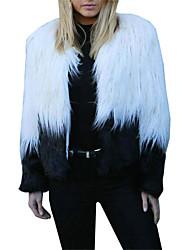 Недорогие -Жен. Пальто с мехом Секси / Изысканный - Контрастных цветов Пэчворк