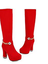 Недорогие -Жен. Комфортная обувь Замша Наступила зима Ботинки На плоской подошве Черный / Красный