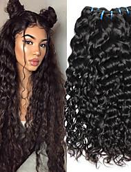 Недорогие -4 Связки Индийские волосы Вьетнамские волосы Волнистые 8A Натуральные волосы Необработанные натуральные волосы Подарки Косплей Костюмы Человека ткет Волосы 8-28 дюймовый Естественный цвет