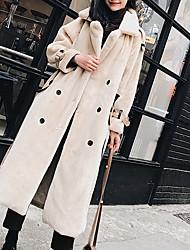 billige -Kvinders lange bomuld / uldløs jakke - solidfarvet