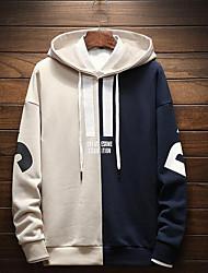 baratos -hoodie de manga longa masculina - bloco de cor com capuz