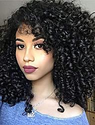 Недорогие -человеческие волосы Remy Полностью ленточные Лента спереди Парик Бразильские волосы Афро Квинки Kinky Curly Черный Парик Ассиметричная стрижка 130% 150% 180% Плотность волос / с детскими волосами