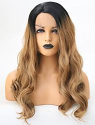 billige -Syntetisk Lace Front Parykker Bølget Side del Syntetisk hår 22 inch Justerbar / Varme resistent Sølv / Nuance Paryk Dame Lang Blonde Front Sort / Jordbær Blond