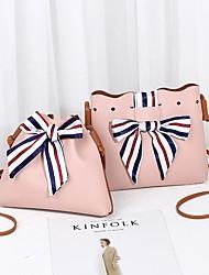 baratos -Mulheres Bolsas PU Conjuntos de saco 2 Pcs Purse Set Laço(s) Vermelho / Rosa / Cinzento Claro