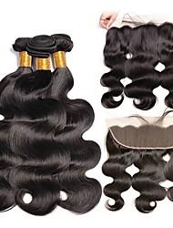 Недорогие -3 комплекта с закрытием Бразильские волосы Естественные кудри Натуральные волосы One Pack Solution / Накладки из натуральных волос / Волосы Уток с закрытием 8-22 дюймовый Естественный цвет / Мода