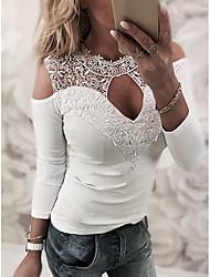 Недорогие -Жен. Кружева Рубашка Уличный стиль Однотонный