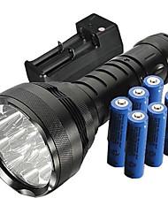 Недорогие -Trustfire Светодиодные фонари Светодиодная лампа Cree® XM-L T6 12 излучатели 5000 lm 5 Режим освещения с батарейками и зарядным устройством Водонепроницаемый Ударопрочный Нескользящий захват