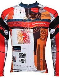 Недорогие -ILPALADINO Муж. Длинный рукав Велокофты - Оранжевый Мода Велоспорт Джерси Верхняя часть, Флисовая подкладка Сохраняет тепло Ультрафиолетовая устойчивость, Зима, Эластан