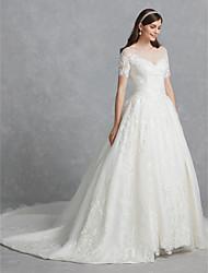 baratos -De Baile Scoop pescoço Cauda Capela Renda / Tule Vestidos de casamento feitos à medida com Apliques / Renda de LAN TING BRIDE®