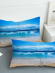 levne -Povlak na polštář - Polyester Reaktivní barviva 3D tisk Povlaky na polštáře 2 ks