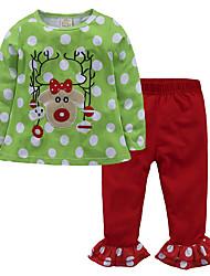 Недорогие -Дети Дети (1-4 лет) Девочки Уличный стиль Рождество Школа День рождения Горошек Цветочный принт Длинный рукав Обычный Обычная Хлопок Набор одежды Зеленый