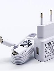baratos -Carregador Fixo Carregador USB Ficha US / Ficha EU com cabo / Conjunto de Carregador 1 Porta USB 2 A 100~240 V para S7 Active / S7 edge / S7