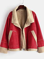 Недорогие -Жен. Повседневные Классический Короткая Куртка, Однотонный Отложной Длинный рукав Полиэстер Красный / Розовый Один размер