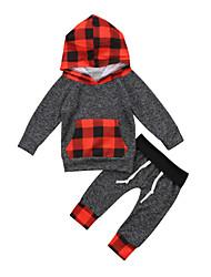 abordables -bébé Garçon Basique / Chic de Rue Noël / Quotidien / Vacances Tartan Manches Longues Normal Normal Coton Ensemble de Vêtements Gris / Bébé