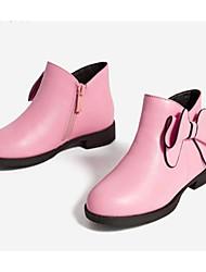 Недорогие -Девочки Обувь Кожа Зима Модная обувь Ботинки Бант для Дети Розовый