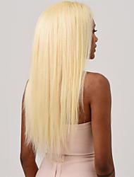Недорогие -Натуральные волосы Полностью ленточные Парик Ассиметричная стрижка Kardashian стиль Индийские волосы Шелковисто-прямые Золотистый Белый Парик 130% Плотность волос / с детскими волосами