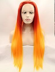 voordelige -Pruik Lace Front Synthetisch Haar KinkyRecht Rood Gelaagd kapsel Oranje 130% Human Hair Density Synthetisch haar 26 inch(es) Dames Dames Rood Pruik Gemiddelde Lengte Kanten Voorkant Sylvia / Ja