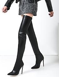 billiga -Dam Fashion Boots Elastisk tyg Höst vinter Stövlar Stilettklack Spetsig tå Lårhöga stövlar Svart / Bröllop / Fest / afton