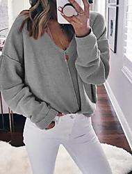 Недорогие -женский выход длинный рукав пуловер - сплошной цветной шеи