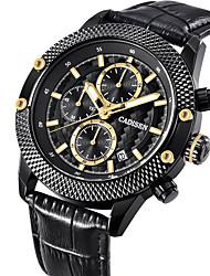 Недорогие -CADISEN Муж. Наручные часы Кварцевый 30 m Защита от влаги Календарь Хронометр PU Группа Аналоговый Роскошь Мода Черный - Черный Два года Срок службы батареи