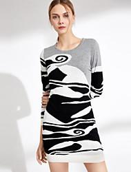 baratos -Mulheres Tricô Vestido Geométrica Acima do Joelho