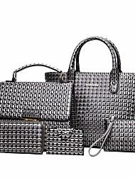 baratos -Mulheres Bolsas PU Conjuntos de saco 5 Pcs Purse Set Com Relevo Cinzento / Marron / Vinho