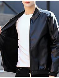 baratos -jaqueta de couro do plutônio dos homens - pescoço de cor sólida v