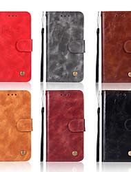 Недорогие -Кейс для Назначение Nokia 8 Sirocco / Nokia 7 Plus / Nokia 6 2018 Кошелек / Бумажник для карт / со стендом Чехол Однотонный Твердый Кожа PU